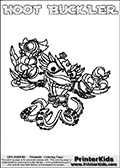 Printable and online colorable page for Skylanders Swap Force fans with the combination figure called HOOT BUCKLER. HOOT BUCKLER must be made by combining parts from other Skylanders Swap Force characters! HOOT BUCKLER is drawn with the upper part of the HOOT LOOP Skylander and the lower part of the WASH BUCKLER Skylander, the part used from each Skylander is used in the new skylanders name. In this coloring page, the HOOT BUCKLER skylander can be colored completely. The colouring page is drawn with a very thick line making it ideal for the youngest Skylanders Swap Force fans. The downside of the thick line is that some detail areas become unavailable for coloring. The coloring page has a colorable text with the HOOT BUCKLER letters as well. Print and color this Skylanders Swap Force HOOT BUCKLER coloring book page that is drawn and made available by Loke Hansen (http://www.LokeHansen.com) based on the original artwork of the Skylanders characters from the Skylanders Swap Force website. Be sure to check the two other variants of this coloring page for more line width options.