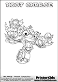 A printable coloring page with Skylanders Swap Force figure HOOT CHARGE. This is one of the MANY printable coloring pages here at www.PrinterKids.com that have a colorable Skylanders Swap Force figure with one of more parts from MAGNA CHARGE. This printable coloring sheet show the Skylanders Swap Force figure combination HOOT CHARGE, that drawn with the upper part of the HOOT LOOP Skylander and the lower part of the MAGNA CHARGE Skylander. In this coloring page, the HOOT CHARGE skylander parts are drawn so that the Skylander can be colored in full - as one character or figure (note that an online coloring page version is available as well via the link below the coloring page image). Print and color this Skylanders Swap Force HOOT CHARGE page that is drawn by Loke Hansen (http://www.LokeHansen.com) based on the original artwork of the Skylanders characters from the Skylanders Swap Force website. Be sure to check out the many other Skylanders Swap force coloring pages!