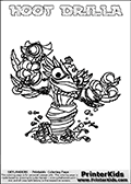 This coloring page (for printing or coloring online) show the Skylanders Swap Force figure combination HOOT DRILLA. The HOOT DRILLA Skylander in this colouring page is drawn with the upper part of the HOOT LOOP Skylander and the lower part of the GRILLA DRILLA Skylander. Both the upper and lower part can be colored, and the parts are drawn so that the coloring page for printing show the Skylander in full. Print and color this Skylanders Swap Force HOOT DRILLA page that is drawn by Loke Hansen (http://www.LokeHansen.com) based on the original artwork of the Skylanders characters.