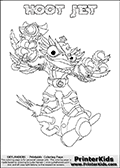 This coloring page (for printing or coloring online) show the Skylanders Swap Force figure combination HOOT JET. The HOOT JET Skylander in this colouring page is drawn with the upper part of the HOOT LOOP Skylander and the lower part of the BOOM JET Skylander. Both the upper and lower part can be colored, and the parts are drawn so that the coloring page for printing show the Skylander in full. Print and color this Skylanders Swap Force HOOT JET page that is drawn by Loke Hansen (http://www.LokeHansen.com) based on the original artwork of the Skylanders characters.