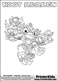 This coloring page (for printing or coloring online) show the Skylanders Swap Force figure combination HOOT KRAKEN. The HOOT KRAKEN Skylander in this colouring page is drawn with the upper part of the HOOT LOOP Skylander and the lower part of the FIRE KRAKEN Skylander. Both the upper and lower part can be colored, and the parts are drawn so that the coloring page for printing show the Skylander in full. Print and color this Skylanders Swap Force HOOT KRAKEN page that is drawn by Loke Hansen (http://www.LokeHansen.com) based on the original artwork of the Skylanders characters.