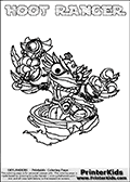 This coloring page (for printing or coloring online) show the Skylanders Swap Force figure combination HOOT RANGER. The HOOT RANGER Skylander in this colouring page is drawn with the upper part of the HOOT LOOP Skylander and the lower part of the FREE RANGER Skylander. Both the upper and lower part can be colored, and the parts are drawn so that the coloring page for printing show the Skylander in full. Print and color this Skylanders Swap Force HOOT RANGER page that is drawn by Loke Hansen (http://www.LokeHansen.com) based on the original artwork of the Skylanders characters.