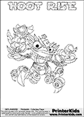 Printable or online colorable Skylanders Swap Force coloring page. This colouring sheet show the combination skylander HOOT RISE that has to be made by combining parts from other Skylanders Swap Force characters! HOOT RISE is drawn with the upper part of the HOOT LOOP Skylander and the lower part of the SPY RISE Skylander. In this coloring page, the HOOT RISE skylander can be colored in full - as a complete skylander. The colouring page is drawn with a super thin line and has a colorable text with the HOOT RISE letters as well. Print and color this Skylanders Swap Force HOOT RISE coloring book page that is drawn and made available by Loke Hansen (http://www.LokeHansen.com) based on the original artwork of the Skylanders characters from the Skylanders Swap Force website. This coloring page variant has the highest amount of detail areas due to the thin drawing line used. Be sure to check the two other variants of this coloring page for more stroke (the line used to draw the HOOT RISE with) options.