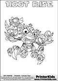 Skylanders Swap Force coloring page with HOOT RISE. The HOOT RISE Skylander figure cannot be bought as it is, it must be made by combining parts from HOOT loop and SPY RISE! HOOT RISE is drawn with the upper part of the HOOT LOOP Skylander and the lower part of the SPY RISE Skylander. In this coloring page, the HOOT RISE skylander can be colored completely. The colouring page is drawn with a thin shaded line and has a colorable text with the HOOT RISE letters as well. Print and color this Skylanders Swap Force HOOT RISE coloring book page that is drawn and made available by Loke Hansen (http://www.LokeHansen.com) based on the original artwork of the Skylanders characters from the Skylanders Swap Force website. This line variant is the -editors choice- where detail areas and line appearance are in best balance. Be sure to check the two other variants of this coloring page for more stroke (the line used to draw the HOOT RISE with) options.