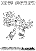 Printable or online colorable Skylanders Swap Force coloring page. This colouring sheet show the combination skylander HOOT SHADOW that has to be made by combining parts from other Skylanders Swap Force characters! HOOT SHADOW is drawn with the upper part of the HOOT LOOP Skylander and the lower part of the TRAP SHADOW Skylander. In this coloring page, the HOOT SHADOW skylander can be colored in full - as a complete skylander. The colouring page is drawn with a super thin line and has a colorable text with the HOOT SHADOW letters as well. Print and color this Skylanders Swap Force HOOT SHADOW coloring book page that is drawn and made available by Loke Hansen (http://www.LokeHansen.com) based on the original artwork of the Skylanders characters from the Skylanders Swap Force website. This coloring page variant has the highest amount of detail areas due to the thin drawing line used. Be sure to check the two other variants of this coloring page for more stroke (the line used to draw the HOOT SHADOW with) options.