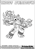 Skylanders Swap Force coloring page with HOOT SHADOW. The HOOT SHADOW Skylander figure cannot be bought as it is, it must be made by combining parts from HOOT LOOP and TRAP SHADOW! HOOT SHADOW is drawn with the upper part of the HOOT LOOP Skylander and the lower part of the TRAP SHADOW Skylander. In this coloring page, the HOOT SHADOW skylander can be colored completely. The colouring page is drawn with a thin shaded line and has a colorable text with the HOOT SHADOW letters as well. Print and color this Skylanders Swap Force HOOT SHADOW coloring book page that is drawn and made available by Loke Hansen (http://www.LokeHansen.com) based on the original artwork of the Skylanders characters from the Skylanders Swap Force website. This line variant is the -editors choice- where detail areas and line appearance are in best balance. Be sure to check the two other variants of this coloring page for more stroke (the line used to draw the HOOT SHADOW with) options.