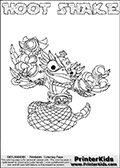 Skylanders Swap Force coloring page with HOOT SHAKE. The HOOT SHAKE Skylander figure cannot be bought as it is, it must be made by combining parts from HOOT LOOP and RATTLE SHAKE! HOOT SHAKE is drawn with the upper part of the HOOT LOOP Skylander and the lower part of the RATTLE SHAKE Skylander. In this coloring page, the HOOT SHAKE skylander can be colored completely. The colouring page is drawn with a thin shaded line and has a colorable text with the HOOT SHAKE letters as well. Print and color this Skylanders Swap Force HOOT SHAKE coloring book page that is drawn and made available by Loke Hansen (http://www.LokeHansen.com) based on the original artwork of the Skylanders characters from the Skylanders Swap Force website. This line variant is the -editors choice- where detail areas and line appearance are in best balance. Be sure to check the two other variants of this coloring page for more stroke (the line used to draw the HOOT SHAKE with) options.