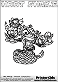 Printable and online colorable page for Skylanders Swap Force fans with the combination figure called HOOT SHAKE. HOOT SHAKE must be made by combining parts from other Skylanders Swap Force characters! HOOT SHAKE is drawn with the upper part of the HOOT LOOP Skylander and the lower part of the RATTLE SHAKE Skylander, the part used from each Skylander is used in the new skylanders name. In this coloring page, the HOOT SHAKE skylander can be colored completely. The colouring page is drawn with a very thick line making it ideal for the youngest Skylanders Swap Force fans. The downside of the thick line is that some detail areas become unavailable for coloring. The coloring page has a colorable text with the HOOT SHAKE letters as well. Print and color this Skylanders Swap Force HOOT SHAKE coloring book page that is drawn and made available by Loke Hansen (http://www.LokeHansen.com) based on the original artwork of the Skylanders characters from the Skylanders Swap Force website. Be sure to check the two other variants of this coloring page for more line width options.