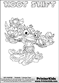 Printable or online colorable Skylanders Swap Force coloring page. This colouring sheet show the combination skylander HOOT SHIFT that has to be made by combining parts from other Skylanders Swap Force characters! HOOT SHIFT is drawn with the upper part of the HOOT LOOP Skylander and the lower part of the NIGHT SHIFT Skylander. In this coloring page, the HOOT SHIFT skylander can be colored in full - as a complete skylander. The colouring page is drawn with a super thin line and has a colorable text with the HOOT SHIFT letters as well. Print and color this Skylanders Swap Force HOOT SHIFT coloring book page that is drawn and made available by Loke Hansen (http://www.LokeHansen.com) based on the original artwork of the Skylanders characters from the Skylanders Swap Force website. This coloring page variant has the highest amount of detail areas due to the thin drawing line used. Be sure to check the two other variants of this coloring page for more stroke (the line used to draw the HOOT SHIFT with) options.