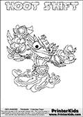 Skylanders Swap Force coloring page with HOOT SHIFT. The HOOT SHIFT Skylander figure cannot be bought as it is, it must be made by combining parts from HOOT LOOP and NIGHT SHIFT! HOOT SHIFT is drawn with the upper part of the HOOT LOOP Skylander and the lower part of the NIGHT SHIFT Skylander. In this coloring page, the HOOT SHIFT skylander can be colored completely. The colouring page is drawn with a thin shaded line and has a colorable text with the HOOT SHIFT letters as well. Print and color this Skylanders Swap Force HOOT SHIFT coloring book page that is drawn and made available by Loke Hansen (http://www.LokeHansen.com) based on the original artwork of the Skylanders characters from the Skylanders Swap Force website. This line variant is the -editors choice- where detail areas and line appearance are in best balance. Be sure to check the two other variants of this coloring page for more stroke (the line used to draw the HOOT SHIFT with) options.