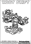 Printable and online colorable page for Skylanders Swap Force fans with the combination figure called HOOT SHIFT. HOOT SHIFT must be made by combining parts from other Skylanders Swap Force characters! HOOT SHIFT is drawn with the upper part of the HOOT LOOP Skylander and the lower part of the NIGHT SHIFT Skylander, the part used from each Skylander is used in the new skylanders name. In this coloring page, the HOOT SHIFT skylander can be colored completely. The colouring page is drawn with a very thick line making it ideal for the youngest Skylanders Swap Force fans. The downside of the thick line is that some detail areas become unavailable for coloring. The coloring page has a colorable text with the HOOT SHIFT letters as well. Print and color this Skylanders Swap Force HOOT SHIFT coloring book page that is drawn and made available by Loke Hansen (http://www.LokeHansen.com) based on the original artwork of the Skylanders characters from the Skylanders Swap Force website. Be sure to check the two other variants of this coloring page for more line width options.