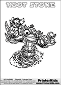 This coloring page (for printing or coloring online) show the Skylanders Swap Force figure combination HOOT STONE. The HOOT STONE Skylander in this colouring page is drawn with the upper part of the HOOT LOOP Skylander and the lower part of the DOOM STONE Skylander. Both the upper and lower part can be colored, and the parts are drawn so that the coloring page for printing show the Skylander in full. Print and color this Skylanders Swap Force HOOT STONE page that is drawn by Loke Hansen (http://www.LokeHansen.com) based on the original artwork of the Skylanders characters.