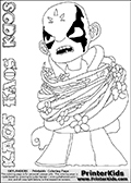 Printable or online colorable Skylanders Swap Force coloring page for kids showing KAOS - the Skylanders Swap Force main villain (the evil opponent). The colouring page is drawn with a super thin line that has a shadow applied to it. This make the stroke easier to see while maintaining the majority of the colorable areas. The printable coloring sheey also have KAOS written name as colorable text in three dfferent ways. Print and color this Skylanders Swap Force KAOS coloring print page that is drawn and made available by Loke Hansen (http://www.LokeHansen.com) based on a screenshot from the Skylanders Swap Force game.