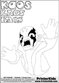 Skylanders Swap Force coloring page with the villain character KAOS that can be printed, downloaded or colored online. KAOS is the primary villain or bad guy figure in the Skylanders Swap Force universe. KAOS cannot be played, the purpose of the game is to defeat the armies of KAOS. The colouring page is drawn with a super thin line and has three colorable text with the KAOS letters in different styles. Print and color this Skylanders Swap Force KAOS coloring print page that is drawn and made available by Loke Hansen (http://www.LokeHansen.com) based on a screenshot from a video sequence in the Skylanders Swap Force game. This coloring page variant has the highest amount of detail areas due to the thin drawing line used. Be sure to check the two other variants of this coloring page for more stroke (the line used to draw KAOS with) options.