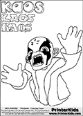 Printable kids colorable Skylanders Swap Force sheet with the rather cute looking main villain in the Skylanders Swap Force Universe - the man-like character with four fingers called KAOS. Players must defeat the forces of Kaos in the Skylanders Swap Force game (by battling the skylanders controlled by Caos and all the different creatures Kaos control) in order to restore peace to the Skylanders Swap Force Universe. The colouring page for kids is drawn with a thick line. The fat styled stroke make the coloring page ideal for the youngest fans. The printable coloring page also have KAOS written as colorable text with different fonts. Print and color this Skylanders Swap Force KAOS coloring print page that is drawn and made available by Loke Hansen (http://www.LokeHansen.com) based on a Skylanders Swap Force game screenshot.