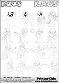 Printable or online colorable Skylanders Swap Force coloring page with 16 different KAOS character drawings. The skylanders coloring figures are relatively small - but there are 16 different on this coloring page. Print and color this Skylanders Swap Force KAOS GROUP coloring print page that is drawn and made available by Loke Hansen (http://www.LokeHansen.com) based on the original artwork of the Skylanders characters from the Skylanders Swap Force game videos. This coloring page variant has the highest amount of detail areas due to the thin drawing line used.