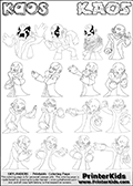 Printable or online colorable Skylanders Swap Force coloring page with 16 colorable drawings of the villain character KAOS from Skylanders Swap Force. The Kids printable colouring sheet has colorable text in addition to the KAOS coloring figures. Print and color this Skylanders Swap Force KAOS GROUP coloring print page that is drawn and made available by Loke Hansen (http://www.LokeHansen.com) based on the original artwork of the Skylanders KAOS character from the Skylanders Swap Force game.