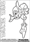 Skylanders Swap Force coloring page the non swap able inect-like figure DUNE BUG from the MAGIC ELEMENT. In this printable sheet, DUNE BUG is drawn standing with a staff pointed forward - ready for some battle action. Print and color this Skylanders Swap Force DUNE BUG coloring sheet for kids that is drawn and made available by Loke Hansen (http://www.LokeHansen.com) based on an image from the Skylanders Swap Force game. This DUNE BUG coloring sheet may look different than the official figure drawings. This is because the kids printable is made based on how the DUNE BUG actually looks in the game and not on a poster. The kids coloring page is super easy to color for kids because of the thick lines used to draw the Skylanders Dune Bug figure and the even thicker outer line applied to the colorable Skylanders Swap Force Dune Bug figure. Be sure to check the other variants of this coloring page for more stroke (the line used to draw DUNE BUG with) options.