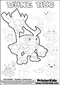 Skylanders Swap Force coloring page with a group of Dune Bug Skylanders. This Dune Bug kids coloring page has 7 small Dune Bug Skylanders figures that can be colored and one large detailed Dune Bug skylander.  In this printable sheet, the large DUNE BUG is drawn looking to the side while standing with a staff in one hand. Print and color this Skylanders Swap Force DUNE BUG coloring sheet for kids that is drawn and made available by Loke Hansen (http://www.LokeHansen.com) based on images from the Skylanders Swap Force game.