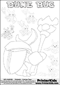 Skylanders Swap Force coloring page with a group of Dune Bug Skylanders. This Dune Bug kids coloring page has 7 small Dune Bug Skylanders figures that can be colored and one large detailed Dune Bug skylander.  In this printable kids coloring page, the large DUNE BUG is drawn from behind while standing with a staff in one hand. Print and color this Skylanders Swap Force DUNE BUG coloring sheet for kids that is drawn and made available by Loke Hansen (http://www.LokeHansen.com) based on images from the Skylanders Swap Force game.