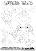 Skylanders Swap Force coloring page with a group of Dune Bug Skylanders. This Dune Bug kids coloring page has 7 small Dune Bug Skylanders figures that can be colored and one large detailed Dune Bug skylander.  In this printable sheet, the large DUNE BUG coloring model is drawn standing with a staff in one hand. Print and color this Skylanders Swap Force DUNE BUG coloring sheet for kids that is drawn and made available by Loke Hansen (http://www.LokeHansen.com) based on images from the Skylanders Swap Force game.