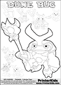 Skylanders Swap Force coloring page with a group of Dune Bug Skylanders. This Dune Bug kids coloring page has 7 small Dune Bug Skylanders figures that can be colored and one large detailed Dune Bug skylander.  In this coloring page the largest DUNE BUG figure is drawn standing with a staff in one hand. Print and color this Skylanders Swap Force DUNE BUG coloring sheet for kids that is drawn and made available by Loke Hansen (http://www.LokeHansen.com) based on images from the Skylanders Swap Force game.