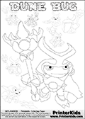 Skylanders Swap Force coloring page with the inect-like figure DUNE BUG from the MAGIC ELEMENT. Skylanders Swap Force coloring page with a group of Dune Bug Skylanders. This Dune Bug kids coloring page has 7 small Dune Bug Skylanders figures that can be colored and one large detailed Dune Bug skylander.  In this printable sheet, the largest DUNE BUG is drawn standing with a staff in one hand. Print and color this Skylanders Swap Force DUNE BUG coloring sheet for kids that is drawn and made available by Loke Hansen (http://www.LokeHansen.com) based on images from the Skylanders Swap Force game.