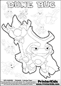Skylanders Swap Force coloring page with a group of Dune Bug Skylanders. This Dune Bug kids coloring page has 7 small Dune Bug Skylanders figures that can be colored and one large detailed Dune Bug skylander. In this printable sheet, the large DUNE BUG is drawn standing with a staff in one hand. Print and color this Skylanders Swap Force DUNE BUG coloring sheet for kids that is drawn and made available by Loke Hansen (http://www.LokeHansen.com) based on images from the Skylanders Swap Force game.