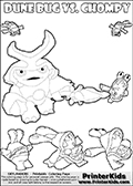 Skylanders Swap Force coloring page with a group of Chompies and a large Dune Bug Skylanders. The Large Skylanders Swap Force Dune Bug is drawn walking. Print and color this Skylanders Swap Force DUNE BUG coloring sheet for kids that is drawn and made available by Loke Hansen (http://www.LokeHansen.com) based on images from the Skylanders Swap Force game and website.