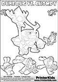 Skylanders Swap Force coloring page with a group of Chompies and a large Dune Bug Skylanders. The Large Skylanders Swap Force Dune Bug is drawn looking to the side.  In this printable sheet, the large DUNE BUG is drawn looking to the side while standing with a staff in one hand. Print and color this Skylanders Swap Force DUNE BUG coloring sheet for kids that is drawn and made available by Loke Hansen (http://www.LokeHansen.com) based on images from the Skylanders Swap Force game.