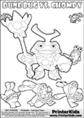Skylanders Swap Force coloring page with a group of Chompies and a large Dune Bug Skylanders. The Large Skylanders Swap Force Dune Bug is drawn smiling.  In this printable sheet, the large DUNE BUG is drawn smiling while standing with a staff in one hand. Print and color this Skylanders Swap Force DUNE BUG coloring sheet for kids that is drawn and made available by Loke Hansen (http://www.LokeHansen.com) based on images from the Skylanders Swap Force game.