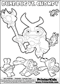 Skylanders Swap Force coloring page with a group of Chompies and a large Dune Bug Skylanders. The Large Skylanders Swap Force Dune Bug is drawn slightly from above. In this printable sheet, the large DUNE BUG coloring model is drawn standing with a staff in one hand. Print and color this Skylanders Swap Force DUNE BUG coloring sheet for kids that is drawn and made available by Loke Hansen (http://www.LokeHansen.com) based on images from the Skylanders Swap Force game.