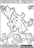 Skylanders Swap Force coloring page with the inect-like figure DUNE BUG from the MAGIC ELEMENT. Skylanders Swap Force coloring page with a group of Chompies and a large Dune Bug Skylanders. In this printable sheet, the largest DUNE BUG is drawn standing with a staff in one hand. Print and color this Skylanders Swap Force DUNE BUG coloring sheet for kids that is drawn and made available by Loke Hansen (http://www.LokeHansen.com) based on images from the Skylanders Swap Force game.