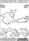Skylanders Swap Force coloring page with the inect-like figure DUNE BUG Skylander. Skylanders Swap Force coloring page with a group of Chompies and a large Dune Bug Skylanders. The Large Skylanders Swap Force Dune Bug is drawn ready for action.  In this printable sheet, the largest DUNE BUG is drawn standing with a staff pointed forward - ready for some battle action. Print and color this Skylanders Swap Force DUNE BUG coloring sheet for kids that is drawn and made available by Loke Hansen (http://www.LokeHansen.com) based on images from the Skylanders Swap Force game.
