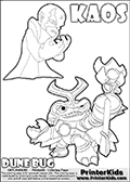 Skylanders Swap Force coloring page with KAOS ( The Skylanders Swap Force Villain )  and a large Dune Bug Skylanders. The Large Skylanders Swap Force Dune Bug is drawn in high detail. The drawing of KAOS show the small man-like villain drawn frustrated with his hands in front of his chest. Print and color this Skylanders Swap Force DUNE BUG coloring sheet for kids that is drawn and made available by Loke Hansen (http://www.LokeHansen.com) based on images from the official Skylanders Swap Force website and the Skylanders Swap Force Game.