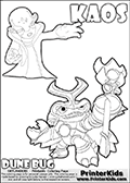 Skylanders Swap Force coloring page with KAOS ( The Skylanders Swap Force Villain )  and a large Dune Bug Skylanders. The Large Skylanders Swap Force Dune Bug is drawn in high detail. The KAOS colorable figure is drawn showing KAOS standing with one hand stretched forward as if using a magical ability or reaching for something. Print and color this Skylanders Swap Force DUNE BUG coloring sheet for kids that is drawn and made available by Loke Hansen (http://www.LokeHansen.com) based on images from the official Skylanders Swap Force website and the Skylanders Swap Force Game.