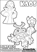 Skylanders Swap Force coloring page with KAOS ( The Skylanders Swap Force Villain )  and a large Dune Bug Skylanders. The Large Skylanders Swap Force Dune Bug is drawn in high detail. Kaos as he is drawn in this printable kids coloring sheet, looks a little upset. Perhaps he wasnt expecting to see Dune Bug just now... Did Dune Bug just show up to spoil the plans of Kaos? This Skylanders Swap Force coloring sheet is ideal for making small stories in addition to coloring. Print and color this Skylanders Swap Force DUNE BUG coloring sheet for kids that is drawn and made available by Loke Hansen (http://www.LokeHansen.com) based on images from the official Skylanders Swap Force website and the Skylanders Swap Force Game.