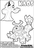 Skylanders Swap Force coloring page with KAOS ( The Skylanders Swap Force Villain )  and a large Dune Bug Skylanders. The Large Skylanders Swap Force Dune Bug is drawn in high detail. The colorable drawing of KAOS looks as if he is about to jump on someone or something - perhaps he is furious and want to attack Dune Bug? This kids printable is ment to inspire creativity so that kids can create their very own small Skylanders stories. Print and color this Skylanders Swap Force DUNE BUG coloring sheet for kids that is drawn and made available by Loke Hansen (http://www.LokeHansen.com) based on images from the official Skylanders Swap Force website and the Skylanders Swap Force Game.