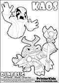Skylanders Swap Force coloring page with KAOS ( The Skylanders Swap Force Villain )  and a large Dune Bug Skylanders. The Large Skylanders Swap Force Dune Bug is drawn in high detail. The KAOS illustration is draw so that it looks as if KAOS is preparing for something tho jump him - as if he is getting attacked or something is about to fall down on him. The coloring page for kids is ment to inspire creativity so that kids can make up their own Skylanders swap Force stories that can be drawn on the coloring sheet. Print and color this Skylanders Swap Force DUNE BUG coloring sheet for kids that is drawn and made available by Loke Hansen (http://www.LokeHansen.com) based on images from the official Skylanders Swap Force website and the Skylanders Swap Force Game.