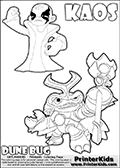 Skylanders Swap Force coloring page with KAOS ( The Skylanders Swap Force Villain )  and a large Dune Bug Skylanders. The Large Skylanders Swap Force Dune Bug is drawn in high detail. KAOS is drawn with a fist raised high in the air as if he is victorious or just came up with a great plan or idea. The kids coloring page is ment to inspire creativity and is an ideal story starter for Skylanders Swap Force fans. Print and color this Skylanders Swap Force DUNE BUG coloring sheet for kids that is drawn and made available by Loke Hansen (http://www.LokeHansen.com) based on images from the official Skylanders Swap Force website and the Skylanders Swap Force Game.