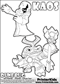 Skylanders Swap Force coloring page with KAOS ( The Skylanders Swap Force Villain )  and a large Dune Bug Skylanders. The Large Skylanders Swap Force Dune Bug is drawn in high detail. The kids colouring sheet is made with KAOS drawn with his arms stretched far out with open hands. What is KAOS planning this time? Use this kids printable to make your very own Skylanders Swap Force adventure! Print and color this Skylanders Swap Force DUNE BUG coloring sheet for kids that is drawn and made available by Loke Hansen (http://www.LokeHansen.com) based on images from the official Skylanders Swap Force website and the Skylanders Swap Force Game.