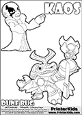 Skylanders Swap Force coloring page with KAOS ( The Skylanders Swap Force Villain )  and a large Dune Bug Skylanders. The Large Skylanders Swap Force Dune Bug is drawn in high detail. The KAOS illustration is drawn showing KAOS in a braggin-like pose. Why is KAOS happy, What is KAOS planning? Make your own Skylanders Swap Force adventure with this kids printable sheet. Print and color this Skylanders Swap Force DUNE BUG coloring sheet for kids that is drawn and made available by Loke Hansen (http://www.LokeHansen.com) based on images from the official Skylanders Swap Force website and the Skylanders Swap Force Game.