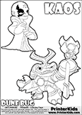 Skylanders Swap Force coloring page with KAOS ( The Skylanders Swap Force Villain )  and a large Dune Bug Skylanders. The Large Skylanders Swap Force Dune Bug is drawn in high detail. The drawing of KAOS show the small man-like villain drawn smiling. Print and color this Skylanders Swap Force DUNE BUG coloring sheet for kids that is drawn and made available by Loke Hansen (http://www.LokeHansen.com) based on images from the official Skylanders Swap Force website and the Skylanders Swap Force Game.