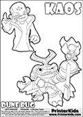 Skylanders Swap Force coloring page with KAOS ( The Skylanders Swap Force Villain )  and a large Dune Bug Skylanders. The Large Skylanders Swap Force Dune Bug is drawn in high detail. The drawing of KAOS is made so that KAOS is illustrated with a finger raised - as if he is making a point or has an idea. Print and color this Skylanders Swap Force DUNE BUG coloring sheet for kids that is drawn and made available by Loke Hansen (http://www.LokeHansen.com) based on images from the official Skylanders Swap Force website and the Skylanders Swap Force Game.