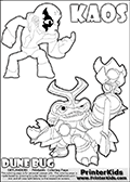 Skylanders Swap Force coloring page with KAOS ( The Skylanders Swap Force Villain )  and a large Dune Bug Skylanders. The Large Skylanders Swap Force Dune Bug is drawn in high detail. The drawing of KAOS show the small man-like villain drawn without his robe on! Print and color this Skylanders Swap Force DUNE BUG coloring sheet for kids that is drawn and made available by Loke Hansen (http://www.LokeHansen.com) based on images from the official Skylanders Swap Force website and the Skylanders Swap Force Game.