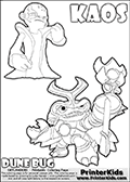 Skylanders Swap Force coloring page with KAOS ( The Skylanders Swap Force Villain )  and a large Dune Bug Skylanders. The Large Skylanders Swap Force Dune Bug is drawn in high detail. This KAOS illustration is drawn so that KAOS has a proud, clever or even slightly seaky look on his face. Perhaps he just got a brilliant evil idea! Use this coloring page as inspiration for your own Skylanders stories! Print and color this Skylanders Swap Force DUNE BUG coloring sheet for kids that is drawn and made available by Loke Hansen (http://www.LokeHansen.com) based on images from the official Skylanders Swap Force website and the Skylanders Swap Force Game.