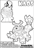 Skylanders Swap Force coloring page with KAOS ( The Skylanders Swap Force Villain )  and a large Dune Bug Skylanders. The Large Skylanders Swap Force Dune Bug is drawn in high detail. KAOS is drawn trapped in plants on this kids printable coloring sheet. Print and color this Skylanders Swap Force DUNE BUG coloring sheet for kids that is drawn and made available by Loke Hansen (http://www.LokeHansen.com) based on images from the official Skylanders Swap Force website and the Skylanders Swap Force Game.