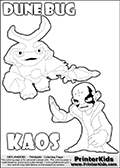 Skylanders Swap Force coloring page with KAOS ( The Skylanders Swap Force Villain )  and a large Dune Bug Skylanders. The Large Skylanders Swap Force Dune Bug is drawn walking.  The colorable KAOS character is drawn with a hand raised flat as if gesturing - BRING IT ON.  KAOS is drawn with a confident look on his face on this kids printable that is designed to inspire creativity so that kids can make their own stories. Print and color this Skylanders Swap Force DUNE BUG coloring sheet for kids that is drawn and made available by Loke Hansen (http://www.LokeHansen.com) based on images from the Skylanders Swap Force game and website.