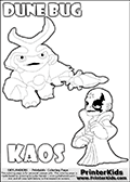 Skylanders Swap Force coloring page with KAOS ( The Skylanders Swap Force Villain )  and a large Dune Bug Skylanders. The Large Skylanders Swap Force Dune Bug is drawn walking.  The drawing of KAOS show the small man-like villain drawn smiling. Print and color this Skylanders Swap Force DUNE BUG coloring sheet for kids that is drawn and made available by Loke Hansen (http://www.LokeHansen.com) based on images from the Skylanders Swap Force game and website.
