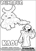 Skylanders Swap Force coloring page with KAOS ( The Skylanders Swap Force Villain )  and a large Dune Bug Skylanders. The Large Skylanders Swap Force Dune Bug is drawn walking.  The drawing of KAOS is made so that KAOS is illustrated with a finger raised - as if he is making a point or has an idea. Print and color this Skylanders Swap Force DUNE BUG coloring sheet for kids that is drawn and made available by Loke Hansen (http://www.LokeHansen.com) based on images from the Skylanders Swap Force game and website.